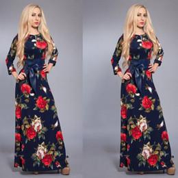 Dolman hülse abendkleid online-Großhandelsfrauenkleid lange volle Hülsenfrühlingsweinlesedruck A-Linie mit Maxikleidern mit Schärpen für für Abendparty freies Verschiffen