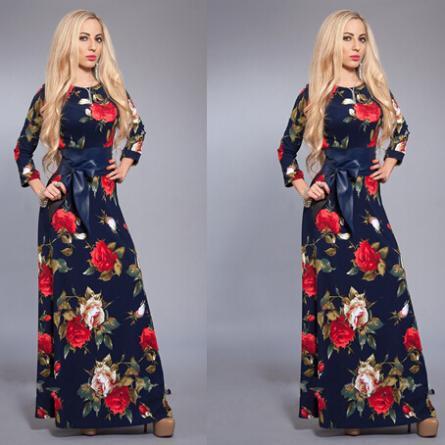 Gros-femme robe manches longues de printemps impression vintage A-ligne avec maxi robes avec ceintures pour la soirée livraison gratuite