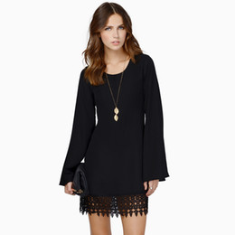 Wholesale White Dress Shift - Wholesale-Fashion Women Chiffon Shift Dress Crochet Lace Hem Top Quality Long Sleeve Mini Dress Black White Vestidos Femininos SALE