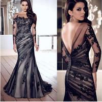 Wholesale Ladies Formal Dresses - Wholesale-Long Black women ladies Applique Gown Evening Formal Party Prom Lance Dress