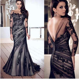 Wholesale Ladies Long Formal Dresses - Wholesale-Long Black women ladies Applique Gown Evening Formal Party Prom Lance Dress