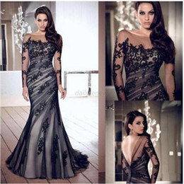 Wholesale Long Sleeve Maxi Formal Dresses - Wholesale-Long Black women ladies Applique Gown Evening Formal Party Prom lace gauze Slim fan club toast long section toast