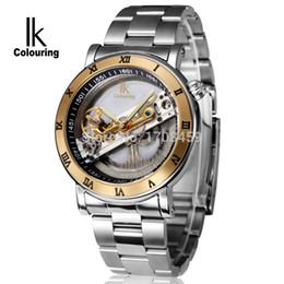 Wholesale Colours Auto - Wholesale-2015 New Design Watches steel Brand Ik Colouring Hollow Automatic Mechanical Watch Men Skeleton Swimming Watches 50M Waterproof