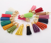Wholesale Bead Caps For Leather - Free Shipping 100Pcs 35mm Mixed Suede Leather Jewelry Tassel For Key Chains  Cellphone Charms Top Plated End Caps Cord Tip FL19