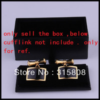 Wholesale Faux Leather Gift Boxes - New Man Black Rectangle Faux Leather Small Cufflinks Box 60pcs lot 8x4x3cm Gift Boxes for Men (SELL BOX ONLY)