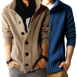 Wholesale Long Coats For Men Sale - Free shipping Sale 2015 men's sweater cardigan shirts cashmere sweater for Mens coat thicker winter men jackets M L XL XXL C170