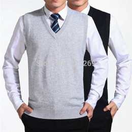 Wholesale Men Sleeveless Sweaters - High Quality New 2015 Autumn Winter 100% Cashmere Knitted Vest Solid Color Sleeveless V-Neck Sweater Men Clothing Brand Casual