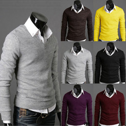 Wholesale L Men Model Hot - Hot explosion models men's sweater solid V-neck pullovers men's knit sweater long-sleeved Six Colors M-L-XL-XXL Sweater Men