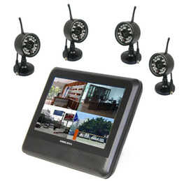 Wholesale Dvr Video Monitor - Wholesale-2.4Ghz digital video security camera system wireless 4ch with 7'' LCD monitor long range home wireless cctv camera dvr kit