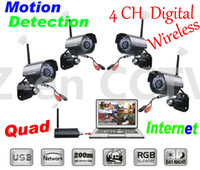 All'ingrosso-2.4GHz Wireless 4CH Tempo reale sistema Quad sicurezza domestica 4 Fotocamere Digitali Con ricevente del USB DVR Network / movimento rileva Record
