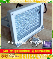 Wholesale-3pcs / lot 50 metri all'aperto impermeabile CCTV Security 54 IR LED 850nm LED Lunghezza d'onda illuminatore luce 30 gradi angolo 12 Volt