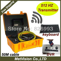 Wholesale Pipe Camera Keyboard - Wholesale-Plumbing detector with sewer pipe inspection camera system with 512HZ transmitter,keyboard and DVR, SD memory,50m cable