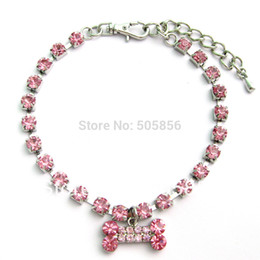 Wholesale Rhinestone Dog Charms - Free shipping!Pink dog rhinestones necklace collar with bone charm,pet puppy jewelry S M L