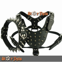 "Wholesale Studded Dog Harnesses - High Quality Spiked Studded Leather Dog Harness Chest 26""-34"" & Spiked Leather Collar for Mastiff Pitbull Boxer"