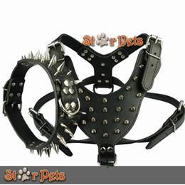 "Wholesale Spike Studded Collars - High Quality Spiked Studded Leather Dog Harness Chest 26""-34"" & Spiked Leather Collar for Mastiff Pitbull Boxer"