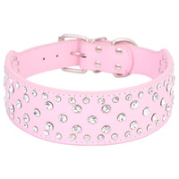 Wholesale Large Pink Rhinestone - Large size dog collar bling big dog collars full with rhinestones PU Leather Size M L XL Black&Pink&White Free Shipping