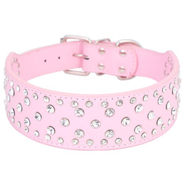 Wholesale pink leather dog collar large - Large size dog collar bling big dog collars full with rhinestones PU Leather Size M L XL Black&Pink&White Free Shipping