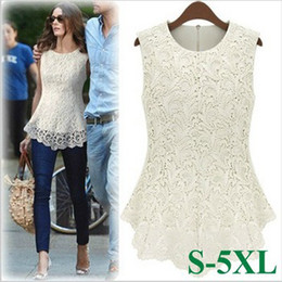 Wholesale Batwing Sleeve Blouses - Plus Size black white fashion Ladies brand Dress Women Blouses female styel Casual Dresses Sleeveless Shirt sexy Lace Tops Y9646