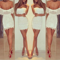 Wholesale Low Cut Top Sleeves - Free Shipping Fashion European Sexy Strapless Backless Slim See-through Low-Cut Tube-Tops Solid Dress Club Party