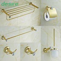 Wholesale Crystal Towel Rack - Gold-plating Brass and Crystal Bathroom Accessories Set 6 Pieces Towel Rack Towel Bar Robe Hooks B5106