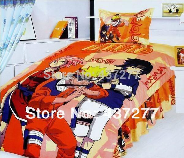 teenage teen naruto reactive printed bedding bed covers flat sheet quality cotton twin size home. Black Bedroom Furniture Sets. Home Design Ideas