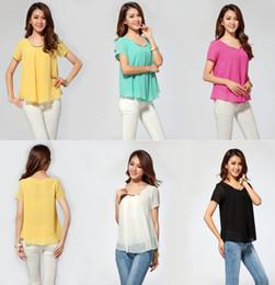 Wholesale Ladies Office Blouses - Large Plus Size Women's Chiffon shirts Blue Rose Mint Color Summer Blouses Short Sleeve Female Loose Shirts Office Ladies J1831
