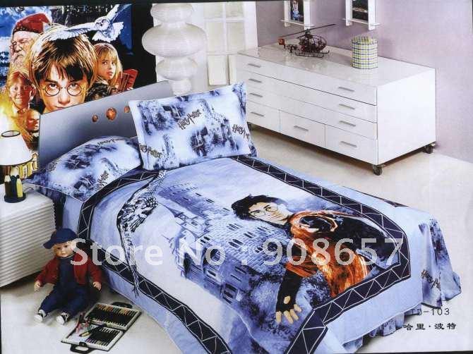 Großhandel Bett Premium Baumwolle Harry Potter Blauen Cartoon Muster