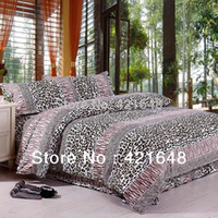 Wholesale Leopard Print Luxury Bedding - Free Shipping Printed Cotton Luxury Plaid 3 4pcs black and white leopard print bed set twin full queen king size bedclothes