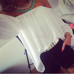 Wholesale Ladies Blouses For Spring - 2015 Spring Summer New Hot Women's Perspective Top Chiffon Shirt Casual Black Long Sleeve Off Shoulder Blouse Sexy For Ladies 12