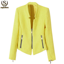 Wholesale Long Sleeve Collarless Coat - Fall New Arrival Clothing Hot Sale Female Vintage Fashion Long Sleeve Yellow Collarless Zipper Coat Women Casual Blazer