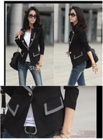 Wholesale Blazers Free Shipping - FREE Shipping New Fashion 2015 Spring Korean Female Suit Jacket Women Double Breasted Short Coat Office Ladies Blazer Black Grey