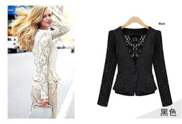 Wholesale Girls Lace Blazer - lace suit hollow pure color cute girl new 2015 blazer women coat ladies' jacket suits for women casacos fashion