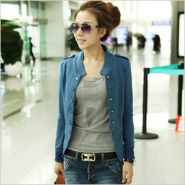Wholesale Epaulette Jackets Collar - 2015 women's solid color stand collar epaulette double breasted short jacket