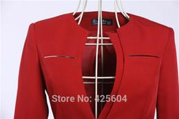 Wholesale Ladies Coat Office Wear - Plus Size 4XL New Women's Career Blazer Coat Spring Fall Business Work Wear Blazers For Office Lady Outwear Jacket Elegant Red