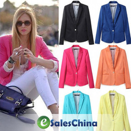 Wholesale Boat Neck Cardigan - Free Shipping blazer women Jackets one button ladies blazer suit cardigan Coat - 6 color #106