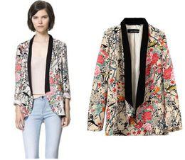 Wholesale Long Blazer Jackets For Women - High Quality Ladies Flower Printed Blazer Jacket Vintage Long Sleeve Kimono Jacket for Women Chaqueta Mujer Jaqueta Esporte