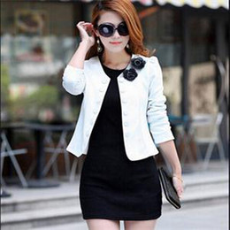 Wholesale Women Double Breasted Blazer - 2015 autumn slim women's double breasted short design long-sleeve cardigan blazer female short jacket woman coat Free Shipping
