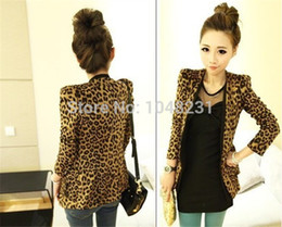 Wholesale Leopard Shrug - Free shiping S M L Spring women blazers and jackets 2015 Women Leopard Jacket Slim Fit One Button Blazer Shrug Pad Suede Outwear