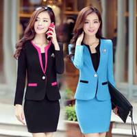 Wholesale Korean Style Ladies Blazer - 2015 Winter New Coming Korean style Blazers for Office Lady Slim Fit Multi-Colored Fashion Elegant Womenoffice Skirt Suits