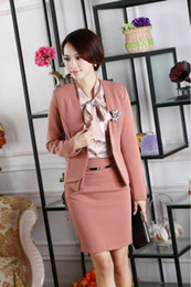 Wholesale Career Suits For Women - New Fashion Women Skirt Suits for Office Ladies Career Business Blazer Sets With Corsage Work Wear Autumn Winter Plus Size XXL