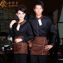 Wholesale Apron Waiter Waitress - Autumn long sleeves hotel restaurant waiter uniform waitress uniform with apron
