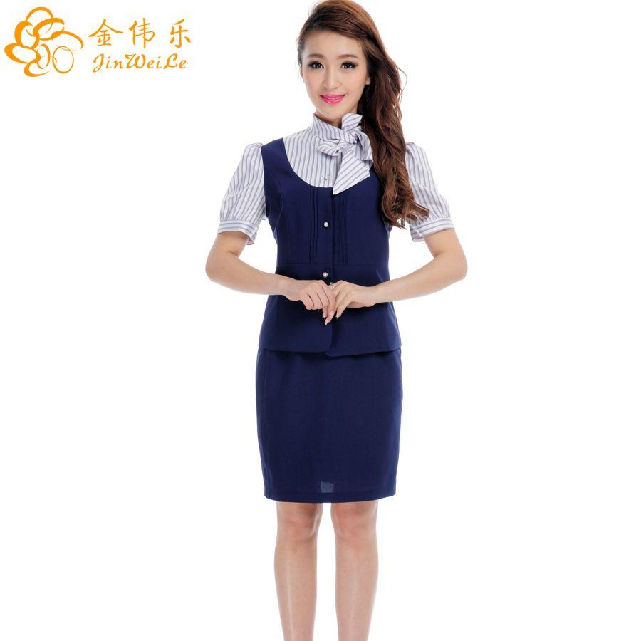 2018 beautiful summer short sleeve shirt and dress set for Uniform for spa receptionist