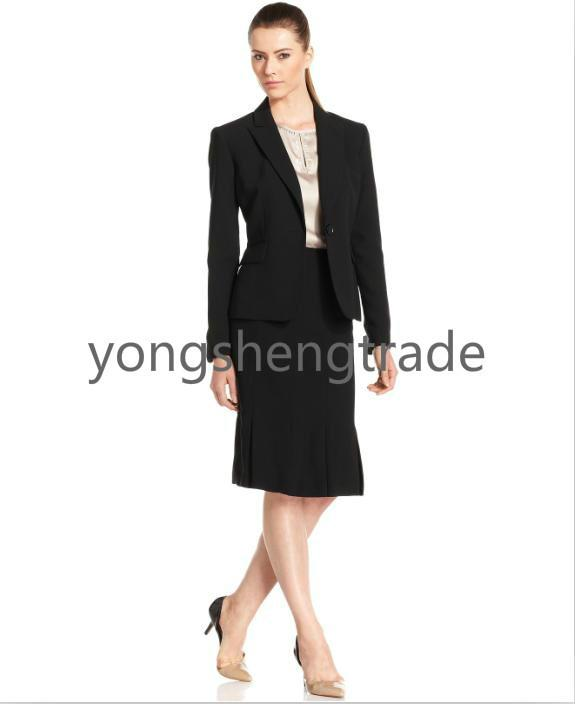 2017 2015 New Arrival Women Suit Black Skirt Suit Pleated Flared ...