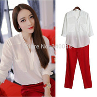 Wholesale Boot Blouse - 2015 Summer Chiffon Solid Color White Shirts Blouses With Elastic Pencil Pants Clothing Sets Office Ladies' Elegant Pant Suits