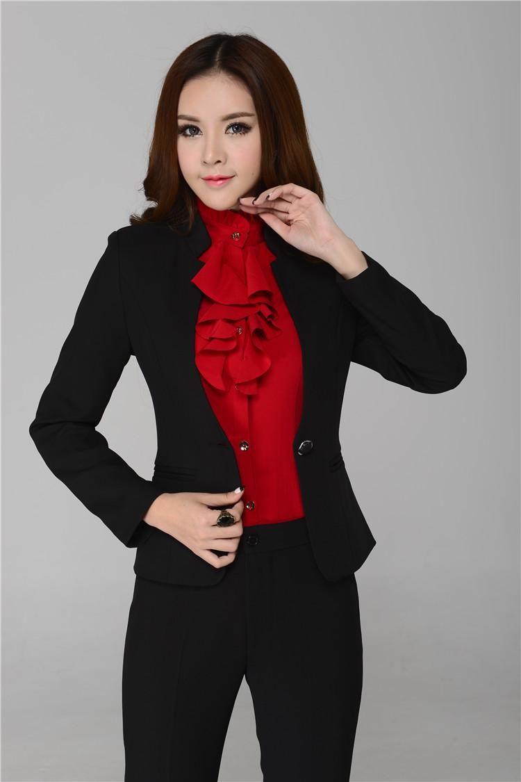 4c208ad799438 New Autumn Winter Ladies Business Sets Pants Suits Professional Work Wear  Form Suits Women Career Outerwear Plus Size XXL