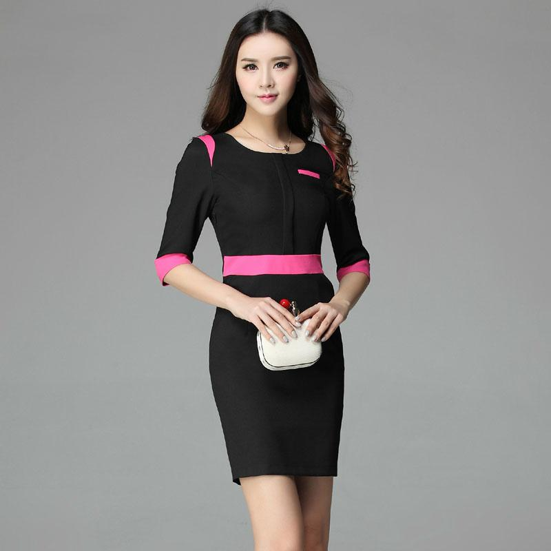 2018 2015 autumn fahsion women work dress office uniform for Office uniform design 2015