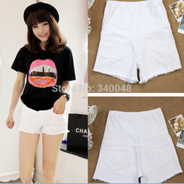 Wholesale Pregnant Woman Belly - 2015 summer new arrival fashion maternity jeans elastic waist belly pants pregnant women short designer jeans denim shorts M-XXL