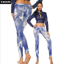 Wholesale Tattoo Looking Leggings - New Women Sexy Light Print Tattoo Jean Look Legging Sport Leggings Punk Fitness American Apparel Jeans Woman Pants 9080