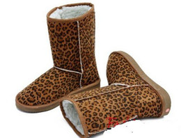 Wholesale flat leopard print boots - 2015 women girls winter snow boots shoes ladies warm flat heels boot shoes Leopard print retail +free shipping