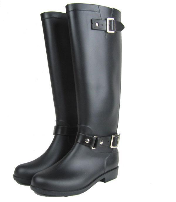 6974ba35 Compre Botas Altas De Montar A Caballo Negro Botas De Lluvia De Pvc Para  Mujeres, Botas De Moto De Estilo De Hebilla US6 #, 7 #, 8 #, 9 #, 10 #, 11  # A ...